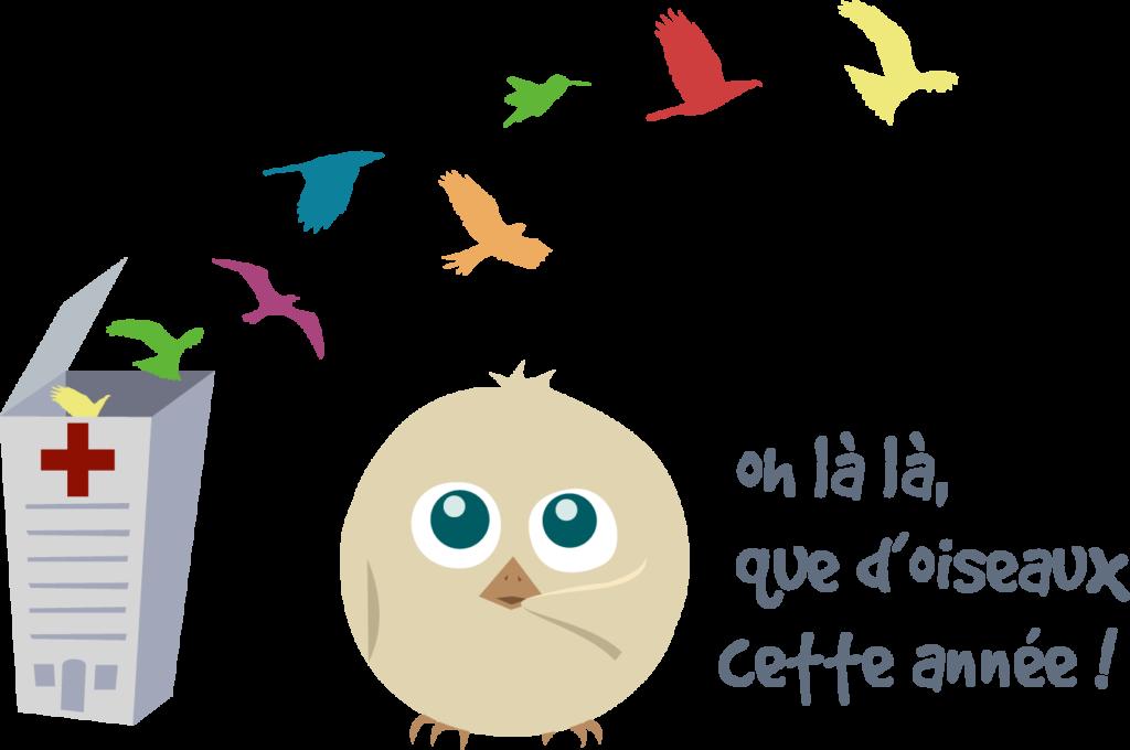 Illustration de Piou, le poussin mascotte de L'Hirondelle qui relâche des oiseaux
