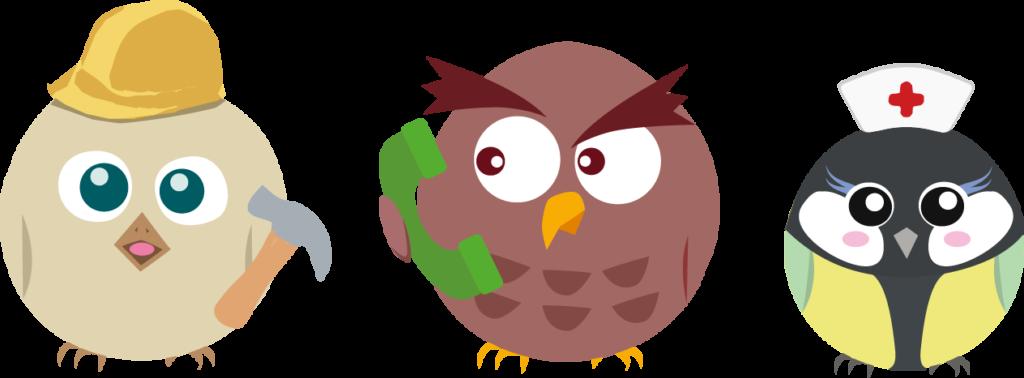 Illustration de Piou, du hibou et de la mésange de L'Hirondelle