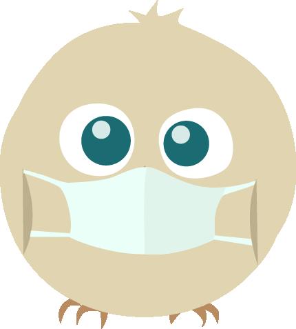 Illustration de Piou, muni d'un masque de soigneur, le poussin mascotte de L'Hirondelle